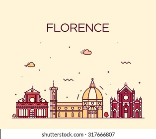 Florence skyline, detailed silhouette. Trendy vector illustration, linear style