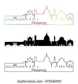 Florence skyline linear style with rainbow in editable vector file