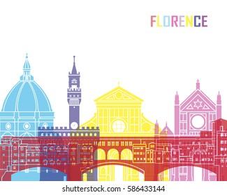 Florence skyline pop in editable vector file