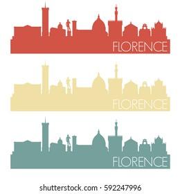 Florence Skyline Retro Vintage Vector City Design Color Set