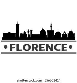 Florence Skyline Silhouette. Cityscape Vector Famous Buildings Clip Art Design.