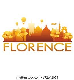 Florence Skyline Silhouette Gradient Vector City Design