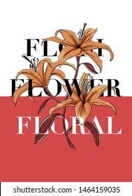 """""""FLORI FLOWER FLORAL"""" slogan with flower illustration. For t-shirt print and graphic design elements."""