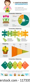 Floriculture and analysis concept infographic charts set. Business pie and percentage charts for presentation slide templates. Can be used for financial report, workflow layout and brochure design.