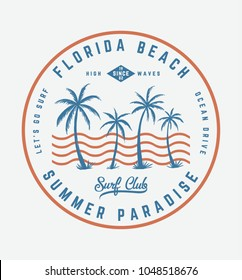 Florida beach text with vector illustrations, for t-shirt and other uses.