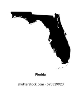 Florida black map,border with name of state