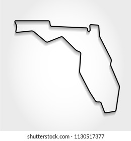 Florida black outline map, shadow concept