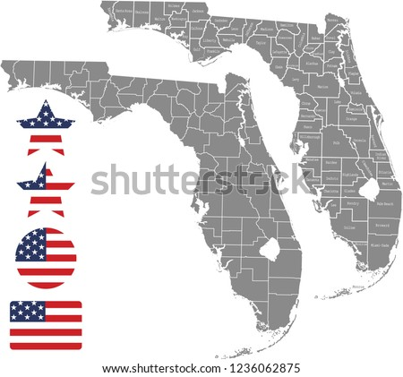 Florida County Maps.Florida County Map Vector Outline Gray Stock Vector Royalty Free
