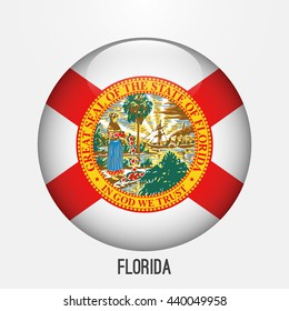 Florida flag in circle shape. Transparent,glossy,glass button