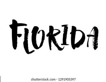 Florida. Hand drawn US state name isolated on white background. Modern brush ink calligraphy. Vector illustration.