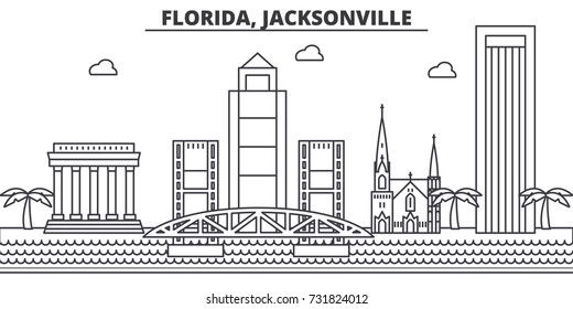 Florida, Jacksonville architecture line skyline illustration. Linear vector cityscape with famous landmarks, city sights, design icons. Landscape wtih editable strokes