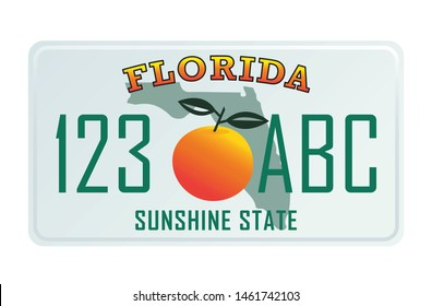 Florida license plate. Vector illustration on white background.