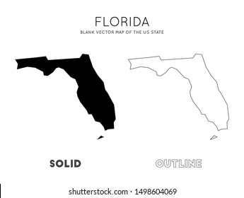 Florida map. Blank vector map of the Us State. Borders of Florida for your infographic. Vector illustration.