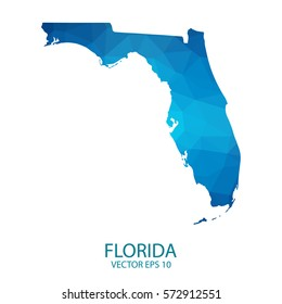 Florida map - blue geometric rumpled triangular low poly style gradient graphic background , polygonal design for your . Vector illustration eps 10.