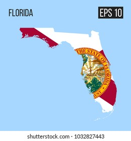 Florida map border with flag vector EPS10