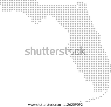 Florida Map Dots Vector Outline Dotted Stock Vector Royalty Free