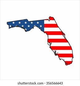 Florida Map With Flag Democrat Donkeys
