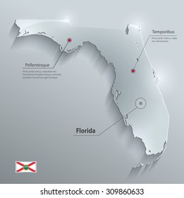 Florida map flag glass card paper 3D vector
