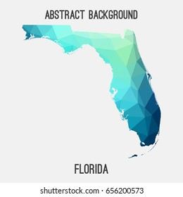 Florida map in geometric polygonal,mosaic style in cold shades.Abstract tessellation,modern design background,low poly. Vector illustration.