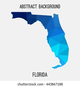 Florida map in geometric polygonal,mosaic style.Abstract tessellation,modern design background. Vector illustration EPS8