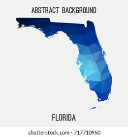 Florida map in geometric polygonal,mosaic style.Abstract tessellation,modern design background,low poly. Vector illustration.