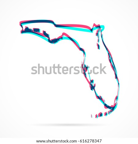 Florida Map Blank.Florida Map Hand Drawn Blue Pink Stock Vector Royalty Free