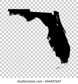 Florida map isolated on transparent background. Black map for your design. Vector illustration, easy to edit.