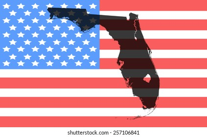 florida  map on a vintage american flag background