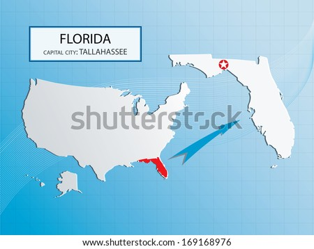 Florida Map Outline.Florida Map Outline Capital City Tallahassee Stock Vector Royalty