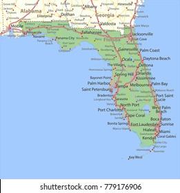 Florida Highway Map Images Stock Photos Vectors Shutterstock