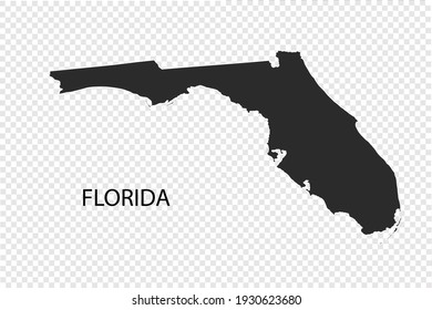 FLORIDA map vector, black color. isolated on transparent background
