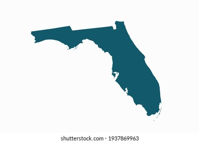 FLORIDA map vector. blue color on white background.