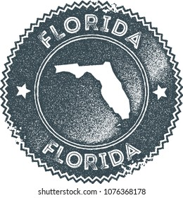 Florida map vintage dark blue stamp. Retro style handmade us state label, badge or element for travel souvenirs. Vector illustration.