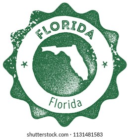 Florida map vintage dark green stamp. Retro style handmade us state label, badge or element for travel souvenirs. Vector illustration.