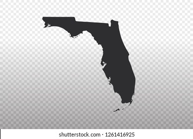 Florida Map - World Map International vector template isolated on transparent background - Vector illustration eps 10