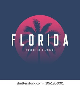 Florida Miami Ocean Drive t-shirt and apparel design with palm tree and halftoned sun, vector illustration, typography, print, logo, poster. Global swatches.
