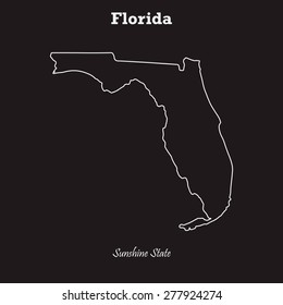 Florida outline map, stroke. Name of state. Line style. Vector EPS8