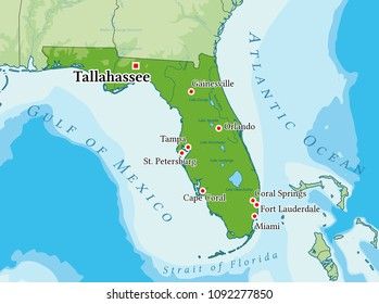 Florida physical map. Elements of image furnished by NASA.