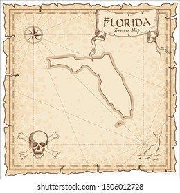 Florida pirate map. Ancient style map template. Old us state borders. Vector illustration.