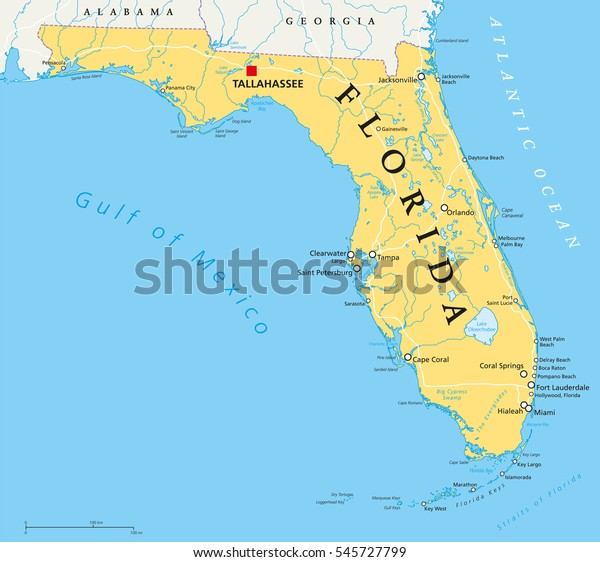 Florida Political Map Capital Tallahassee Borders Arkistovektori