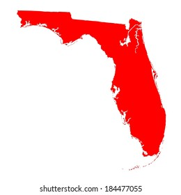 Florida red vector map silhouette isolated on white background. High detailed vector illustration. USA state map territory.