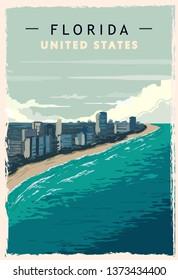 Florida retro poster. USA Florida  travel illustration. United States of America greeting card. vector illustration.