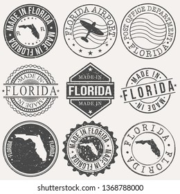 Florida Set of Stamps. Travel Stamp. Made In Product. Design Seals Old Style Insignia.