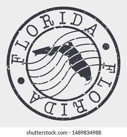 Florida Stamp Postal. Map Silhouette Seal. Passport Round Design. Vector Icon. Design Retro Travel.