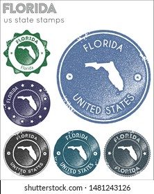 Florida stamps collection. Rubber stamps with us state map silhouette. Vector set of Florida logo.