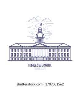 Florida State Capitol located in  Tallahassee city. The seat of government for the U.S. state of Florida . The great example of Classical Revival style architecture. City sight linear vector icon