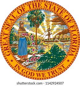 Florida State Flag Seal Love Heart United States America American Illustration
