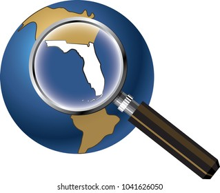 Florida State Map Enlarged on Globe with Magnifying Glass