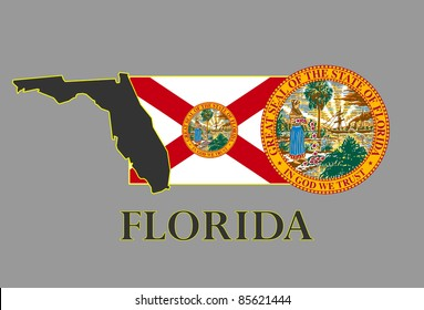 Florida state map, flag, seal and name.