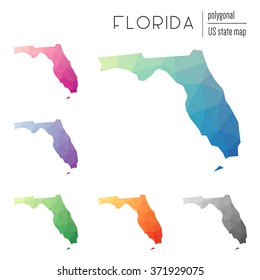 Florida state map in geometric polygonal style. Set of Florida state maps filled with abstract mosaic, modern design background. Multicolored state map in low poly style
